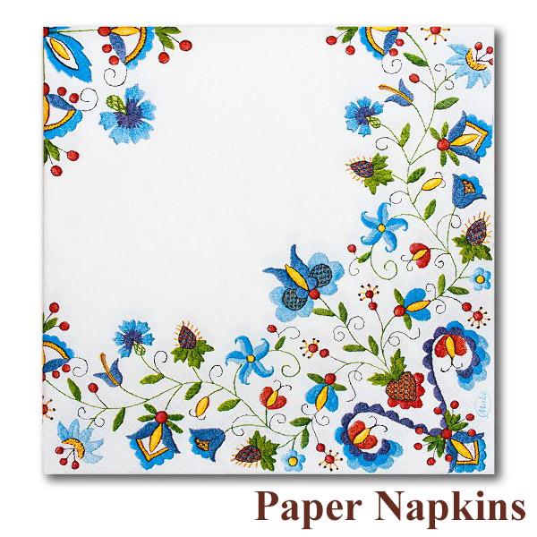 Beau P Poland Napkins Kashubian Regional Flower Embroidery Pattern