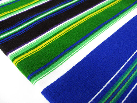 Poland Traditional Handwoven Table Runner Blue 40 X 140 Cm Hemp Wool