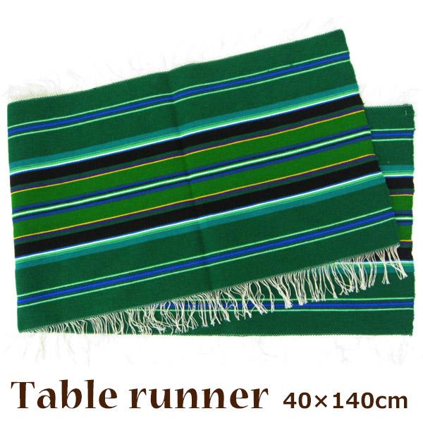 ポーランド 伝統手織 テーブルランナーグリーン 40×140cm 麻 ウール