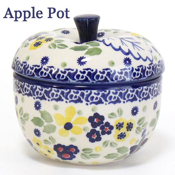 ポーランド食器・陶器 リンゴポット イエロー&ブルーの花 マニュファクトゥラ社 J58-ALC1 ポーリッシュポタリー ApplePot