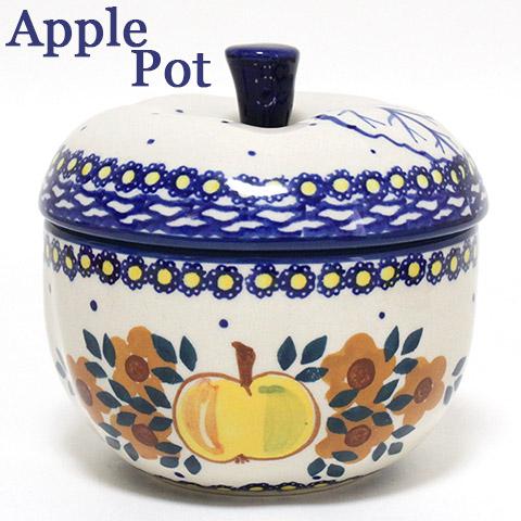ポーランド食器・陶器 リンゴポット イエローのりんご柄 マニュファクトゥラ社 J58-JZO ハンドペイント ポーリッシュポタリー ApplePot