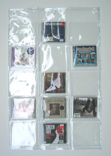 CDサイズのポケットが15個 オールクリア 透明ウォールポケットCD15ポケット 品質検査済 公式通販 W-178