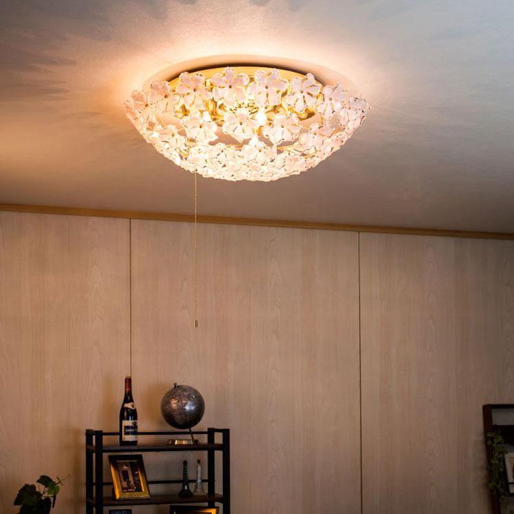 【送料無料・一部地域を除く】シャンデリア ブルーム プルスイッチ シーリングライト led おしゃれ かわいい 可愛い 北欧 インテリア リビング用 居間用|天井照明 シーリング ライト 照明器具 ダイニング用 食卓用 リビングライト 電気 新生活