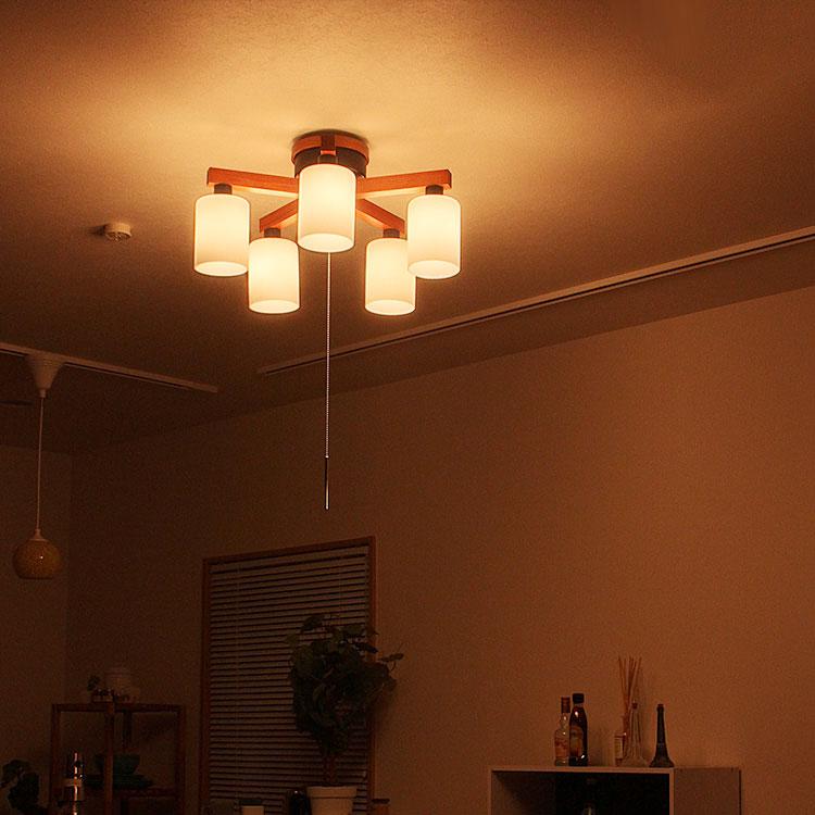 【送料無料】シーリングライト 5灯 フロリア[FLORIA]|ダイニング用 食卓用 プルスイッチ リビング用 居間用 シーリングライト 間接照明 和室 led電球 北欧 かわいい インテリア 照明器具 天井照明 ライト 電気 シーリング ライト