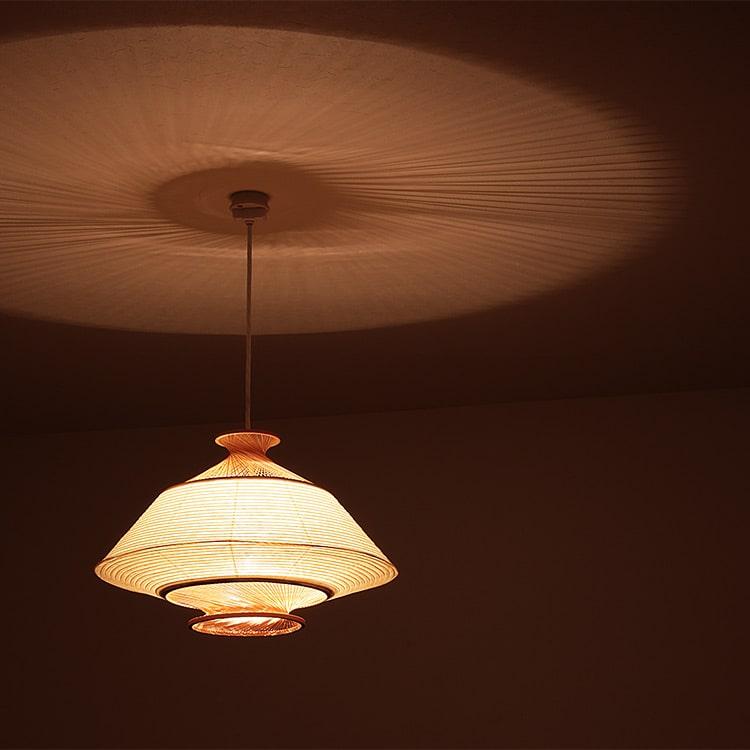 照明作家 谷俊幸 侖 Ron ペンダントライト 1灯 照明 寝室 ダイニング リビング 木製 ランプ ナチュラル 職人 竹 和紙 和室 畳 提灯 ちょうちん 水戸 和風 モダン シンプル 伝統 インテリア 和風照明 tani toshiyuki テレワーク