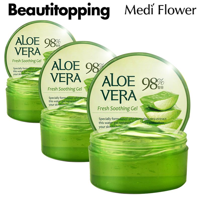 Medi Flower メディフラワー お得な3個セット アロエ ベラフレッシュスージングジェル プレゼント 300ml スーシングジェル アロエベラ アロエベラジェル 韓国コスメ 保湿 水分 国内在庫 アロエジェル ボディケア