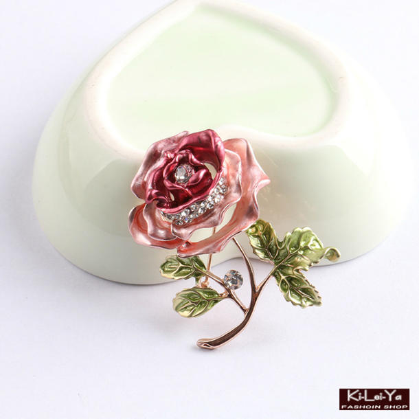 バラ フラワー ブローチ アクセサリー 贈り物 母の日 誕生日/お祝い ネコポス便対応 パーティー 交換無料