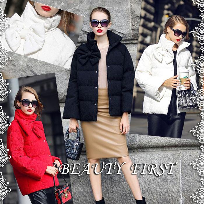 リボン付きダウンコート ショート丈ダウンコート アウター ダウン コート ダウンジャケット レディース フォーマル 服装 上品フォーマル お呼ばれ 20代30代40代50代 ブラック ホワイト レッド