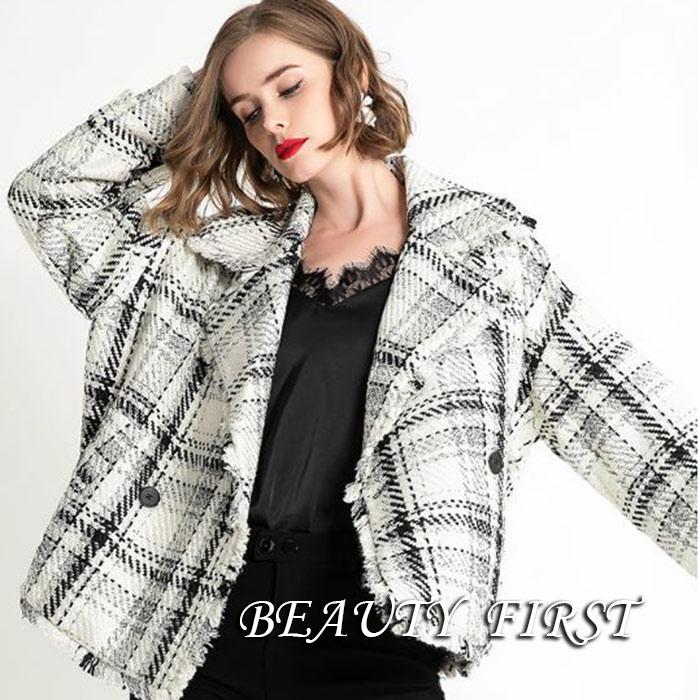 白黒格子柄コート ジャケット フリンジ テーラード レディース 上着 羽織 秋冬 カジュアル デイリー お出掛け ショート丈 高級感 上品
