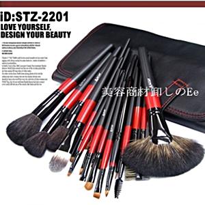 22本メイクブラシセット、化粧筆セット、化粧ブラシセット、ブラシケース付き STZ-2201