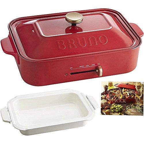 BRUNO ブルーノ コンパクトホットプレート 評判 本体 プレート3種 たこ焼き セラミックコート鍋 限定価格セール レッド レシピブック 赤 Red 付き 平面