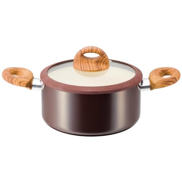 KUKUNA 木目調セラミックアルミ 両手鍋 20cm IH200V対応 KKN-WA20R