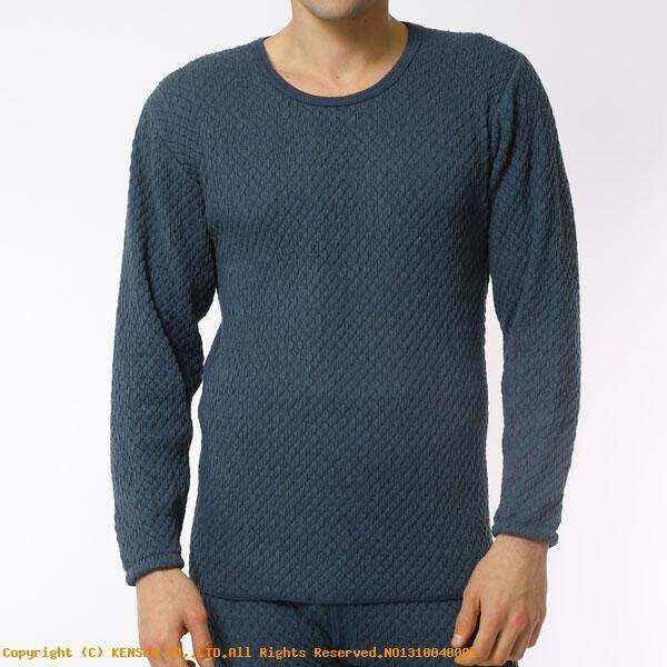【ひだまり】 ひだまりチョモランマ 紳士長袖丸首シャツ [サイズ:L] [カラー:ネイビー] #QM922 【スポーツ・アウトドア:アウトドア:ウェア:メンズウェア:防寒インナー】