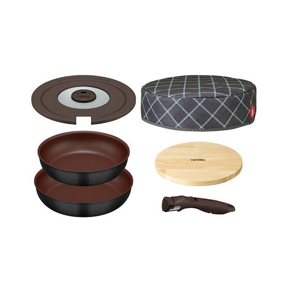 【サーモス】 取っ手のとれるフライパン 6点セット [カラー:ブラック] #KFA-SET6-BK 【キッチン用品:調理用具・器具:フライパン:アルミ:26cm~30cm:IH/ガス両方対応】