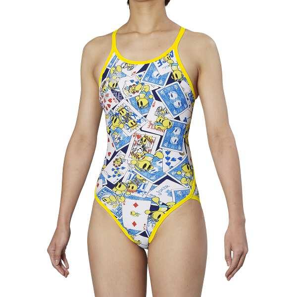 【アリーナ】 TOUGHSUIT スーパーフライバック [サイズ:M] [カラー:ネイビー・ブルー×Kイエロー×ブラック] #FSA9609W-NVBU 【スポーツ・アウトドア:水泳:競技水着:レディース競技水着】