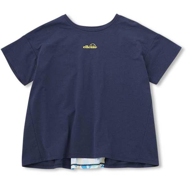 【エレッセ】 ショートスリーブバックタックシャツ(レディース) [サイズ:L] [カラー:ヘリテージネイビー×ヘリテージネイビー] #EW00108-NN 【スポーツ・アウトドア:テニス:レディースウェア】