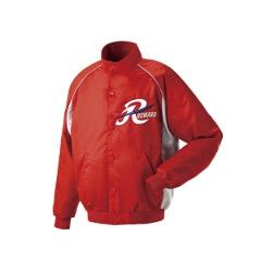 グランドコート セミロングカラー(ボタン付) 野球グランドコート [カラー:レッド×シルバーグレー] [サイズ:O] #GW-04
