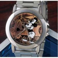 オールドミッキー高級牛革チェンジベルト付き腕時計