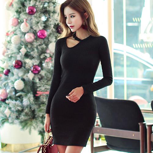 bba6988cc231b Body-conscious dress Lady's sexy tight long sleeves Black black big size  Shin pull plain fabric black black dress S/M/L/XL sexy cool fashion Mini  One ...