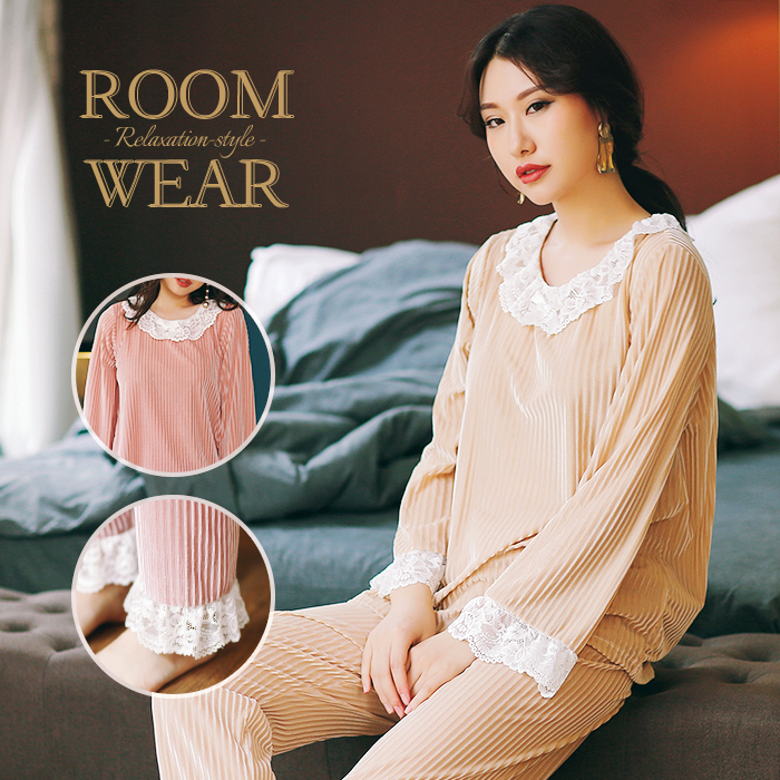 30c171c3ca Roomware top and bottom set pretty roomware ladies  roomware winter setup  sexy room wear long sleeves room wear race pajamas lady s pretty house coat  stripe ...