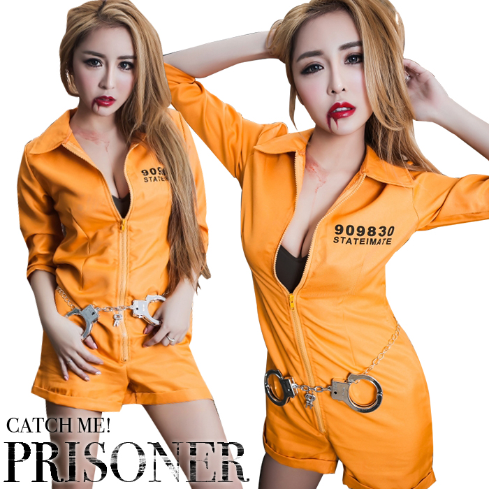 Lady's party club festival orange chain mail order for adult for the police  Prison girl Halloween costume play sexy Halloween clothes Prison lady  costume ...