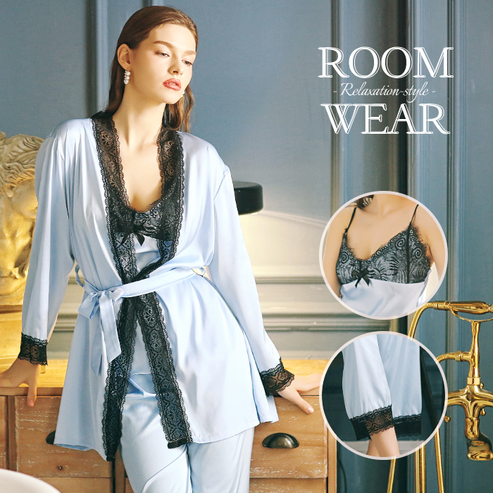 6499e25de70 Four points of roomware top and bottom set nightgown long sleeves race  camisole long underwear zone ...