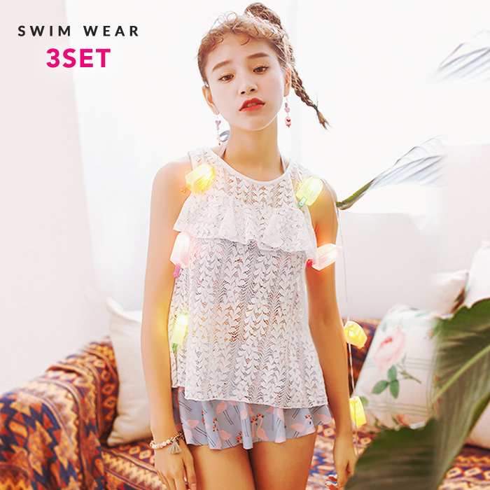 0bd822bac047 Swimsuit figure cover big size Lady s race cover up high neck bandeau bikini  ska Bakery flamingo bird bird animal pattern three points set short pants  high ...