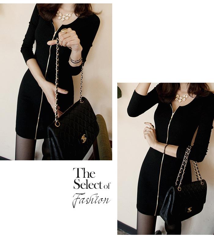 5951600f9037 ... Body-conscious dress Lady's dress tops sexy tight rib knit rib cut-and-  ...