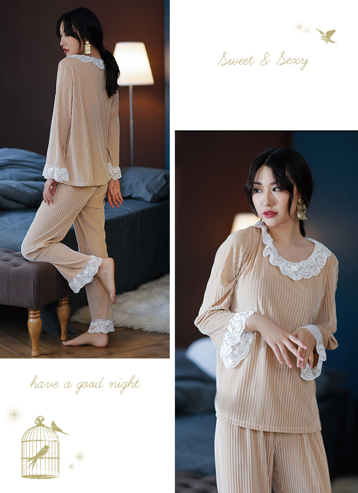 8e8b889238 Roomware top and bottom set pretty roomware ladies  roomware winter setup  sexy room wear long sleeves room wear race pajamas lady s pretty house coat  stripe ...