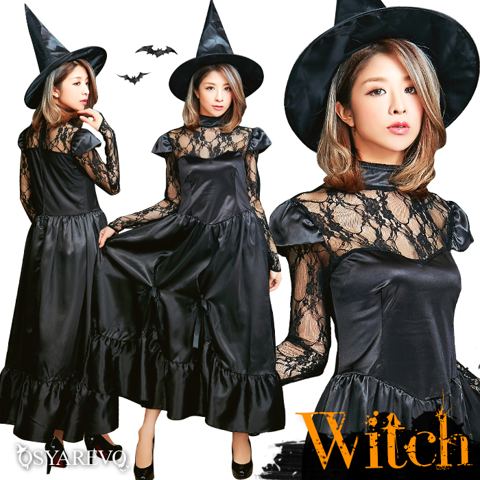 for witch adult with the clothes dress hat having a cute halloween costume play witch set ladys black sexy costume halloween costume play gothic halloween