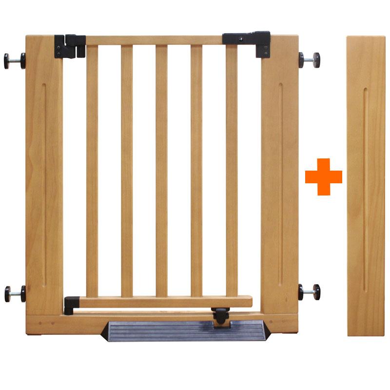 木製オートマチックゲート エクセレント+エクステンション1個セット(ベージュ) | ベビーゲート《W86~96cm(階段上取付時:W88~98cm)》【赤ちゃん】【ベビー用品】【あす楽対応】