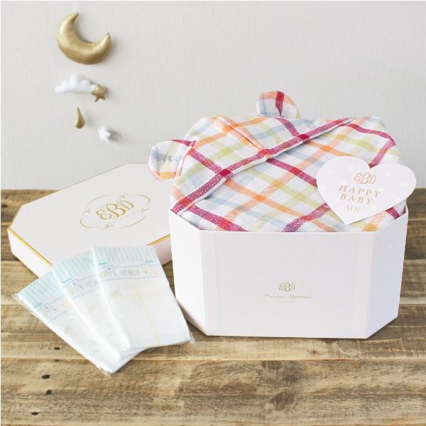 【送料無料】プレシャスメモリアルボックス(フードタオル)デュオピンク( 名入れ無料 ベビーバスローブ ランキング おむつケーキ 女の子 出産祝い )