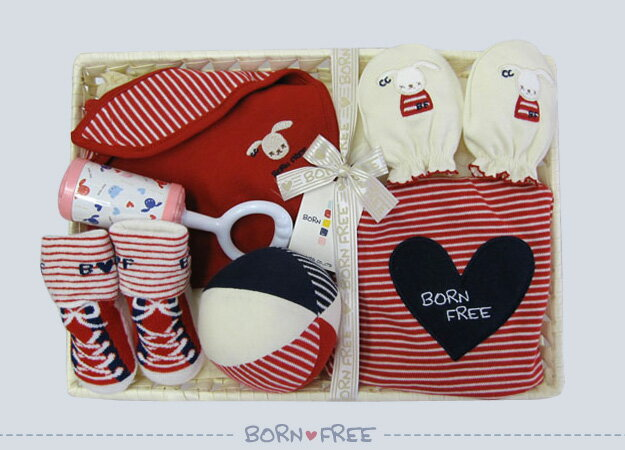 BORN FREE ( ボンフリー ) カゴM-13 お祝い セット アカ ベビー用品 出産祝い おしゃれ かわいい 日本製 女の子 男の子 赤ちゃん