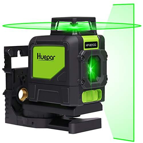 Huepar 開店祝い 5ライン グリーン レーザー墨出し器 緑色 直営限定アウトレット レーザー クロスラインレーザー ミニ型 ライン出射角水 高精度 高輝度 自動補正機能