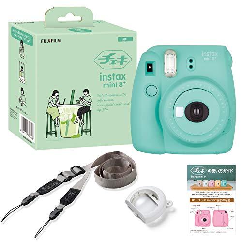 FUJIFILM インスタントカメラ チェキ instax mini8プラス 接写レンズ 60cmから撮影可能 ミント 新品未使用正規品 受賞店 純正ショルダーストラップ付き 接