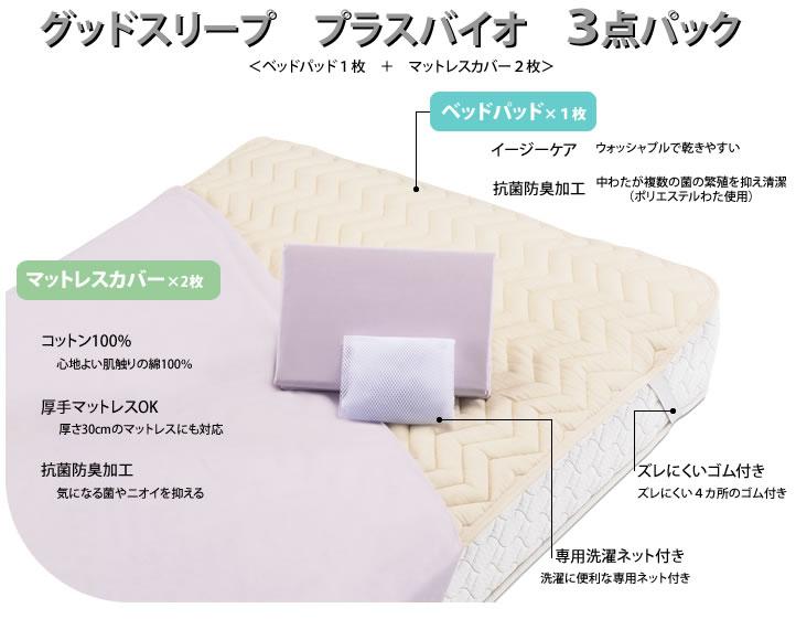 フランスベッド セミダブル ロングサイズ 用品3点セットシーツ ベッドパッド グッドスリーププラス バイオ 3点パックGS3 【RCP】