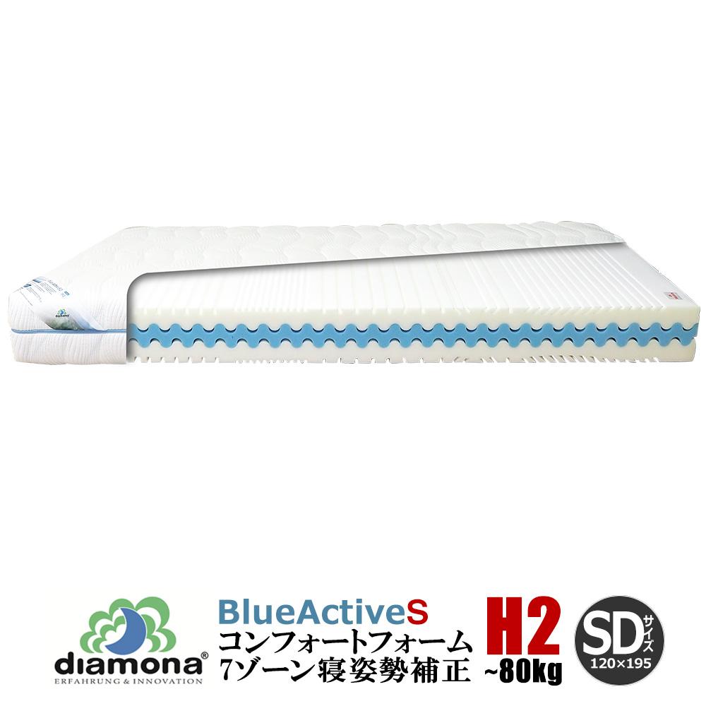ディアモナ セミダブル 7ゾーン 3層のコンフォートフォーム ドイツ製 マットレス ブルーアクティブS H2【大型商品の為日時指定不可】