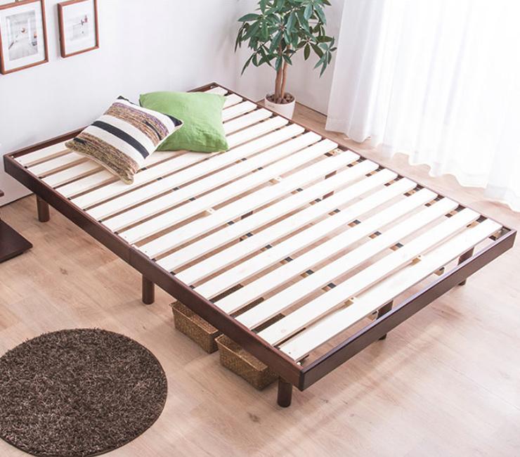 すのこベッド ダブル フレームのみ 高さ調節 3段階 ヘッドレススノコベッド NLES ノール ダブル フレームのみ 木製ベッド(代引不可)【送料無料】