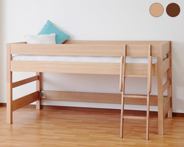 木製ミドルベッド 天然木の贅沢ベッド 無垢 棚無し ロフトベッド がっちりフレームシンプルデザイン システム家具(代引不可)【送料無料】