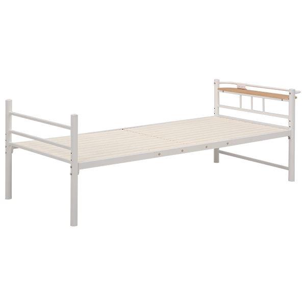 シングルベッド スチールパイプ 二口コンセント/宮付き 収納付き KH-3705 アイボリー 【代引不可】