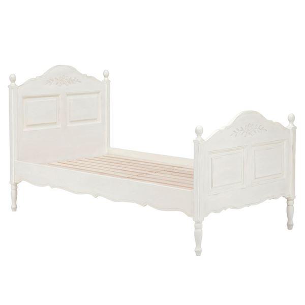 アンティーク調ベッド 【シングルサイズ】 木製 姫系 RB-1680AW-S アンティークホワイト(白)【代引不可】