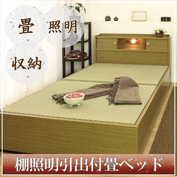 棚照明 収納付き畳ベッド ダブル ブラウン A151-50-D(畳)【代引不可】