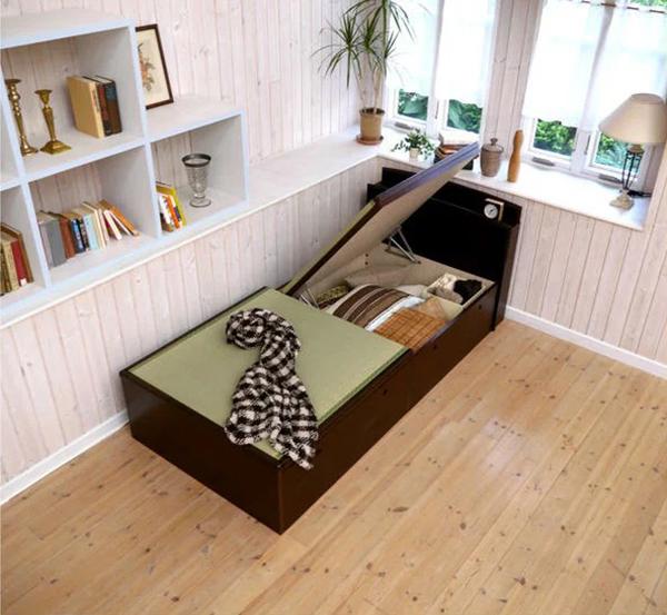 大量収納跳ね上げ式畳ベッド 棚付き 宮付きタイプ セミダブル(代引不可)【送料無料】