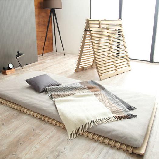すのこベッド 折りたたみ 通気性2倍の折りたたみ「みやび格子」すのこベッド シングル 二つ折りタイプ(代引不可)【送料無料】【S1】