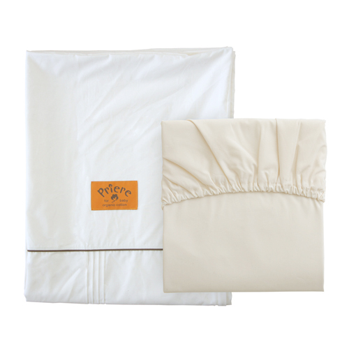 送料無料 肌触りのやさしい オーガニックコットンで織られた掛カバーとフィットシーツのセットです プリエール [並行輸入品] オーガニックコットン 期間限定の激安セール ソレイユベビーカバーセット