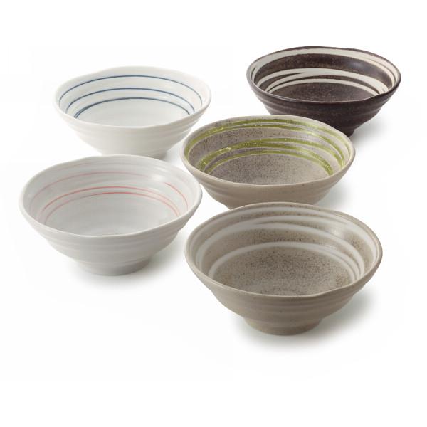 和風ラーメン鉢5個組 和陶器 和陶鉢 中鉢セット 872301(代引不可)