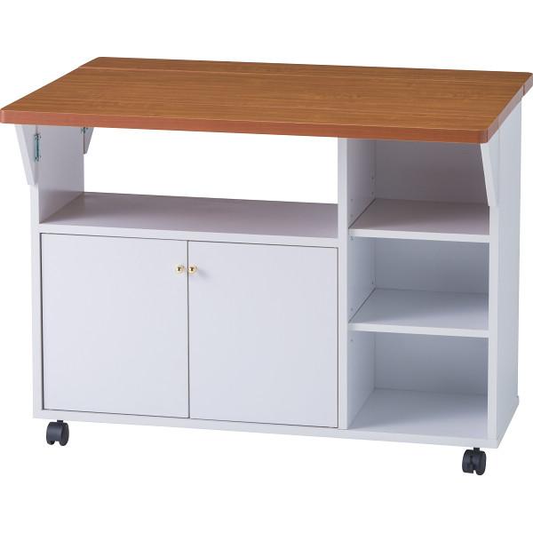 キッチン両バタワゴン ホワイト 木製品 家具 キッチン家具 キッチンカウンター 92913(代引不可)【送料無料】