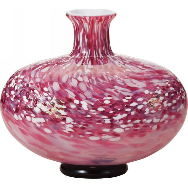 津軽びいどろ 津軽びいどろ 花器 弘前桜 花あかり 室内装飾品 花瓶 ガラス花瓶 F71164(代引不可)【送料無料】