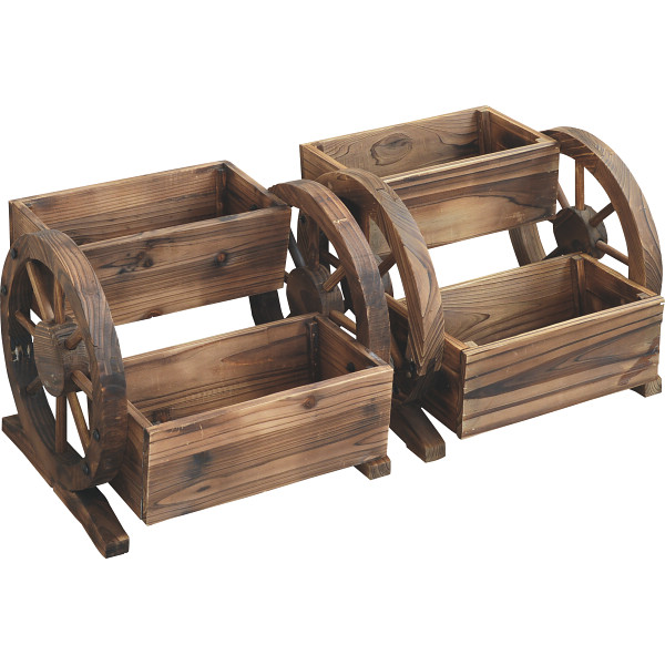 木製プランター花車輪2個組 台所 日用品 収納 DIY用品 園芸用品 M680(代引不可)【送料無料】