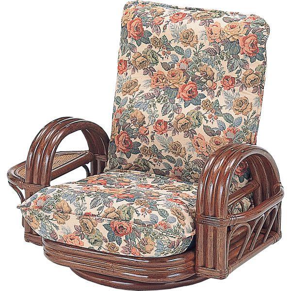 籐リクライニング回転座椅子 木製品 家具 籐家具 座椅子 H28S697(代引不可)【送料無料】